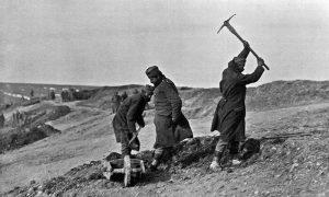 Војници Дунавске дивизије II позива уређују положаје за хаубице