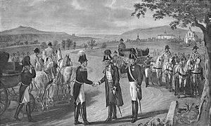 Франц I Аустријски и руски цар Никола I на преговорима у Минхенграцу 10. септембра 1833.