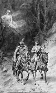 Kraljević Marko, Miloš Obilić i vila Ravijojla, junaci srpskih epskih narodnih pesama. Slika Paje Jovanovića iz 1906.