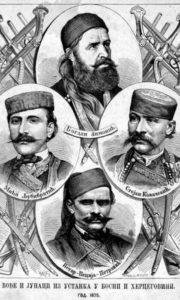 Вође и јунаци из устанка у Босни и Херцеговини из 1875. Илустрација из илустрованог календара Орао за 1876.