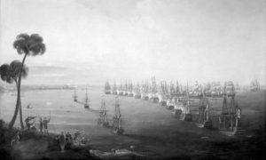 Поморска битка у Абукриском заливу, 1-3. август 1798. Уље на платну Николаса Покока из 1808.
