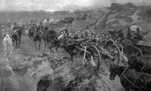 """""""Живи мост"""" – у бици са Персијанцима руски војници телима праве мост за своју артиљерију, Турско-Персијски рат 1804. – 1813."""