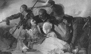 Смрт грчког генерала и хероја Маркоса Ботсариса 8. августа 1823, у бици код Карпенисија.