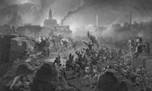 Битка код Акхалзица, 9. августа 1828. Уље на платну Јануарија Суходолског из 1839.
