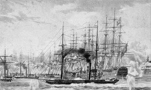 Британски брод Феникс у току бомбардовања Акре, 3. новембар 1840.