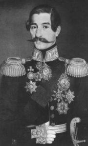 Кнез Александар Карађорђевић (11. октобар 1806. – 3. мај 1885), кнез Србије од 14. септембра 1842. до 13. децембра 1858. Слика Уроша Кнежевића.