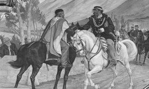 Сусрет Џузепеа Гарибалдија (4. јул 1807. – 2. јун 1882.) и Виктора Емануела II (14. март 1820. – 9. јануар 1878.) на мосту Теаноа 26. октобра 1860. Мурал Пјетра Алдија.